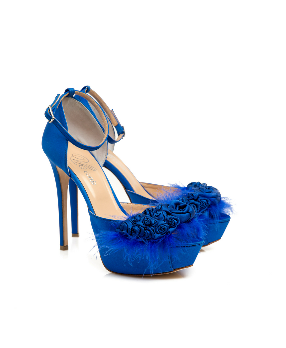 ... Bridal Ankle Strap d Orsay With Handmade Silk Roses Blue Royal Satin  Mod.2346. Zoom 69db1a2c3ed