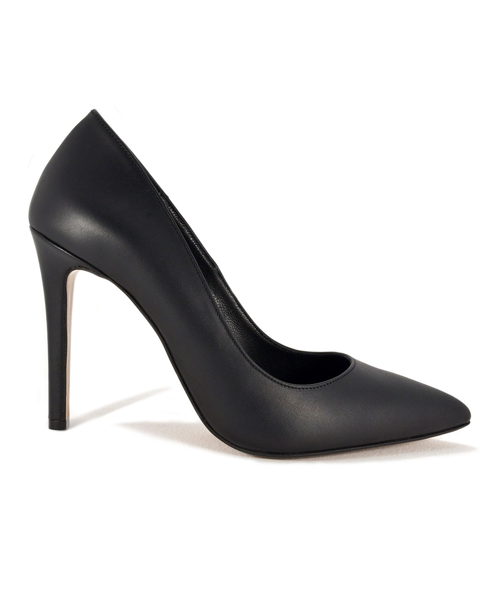 Black Leather Pointed Pumps Mod.2398