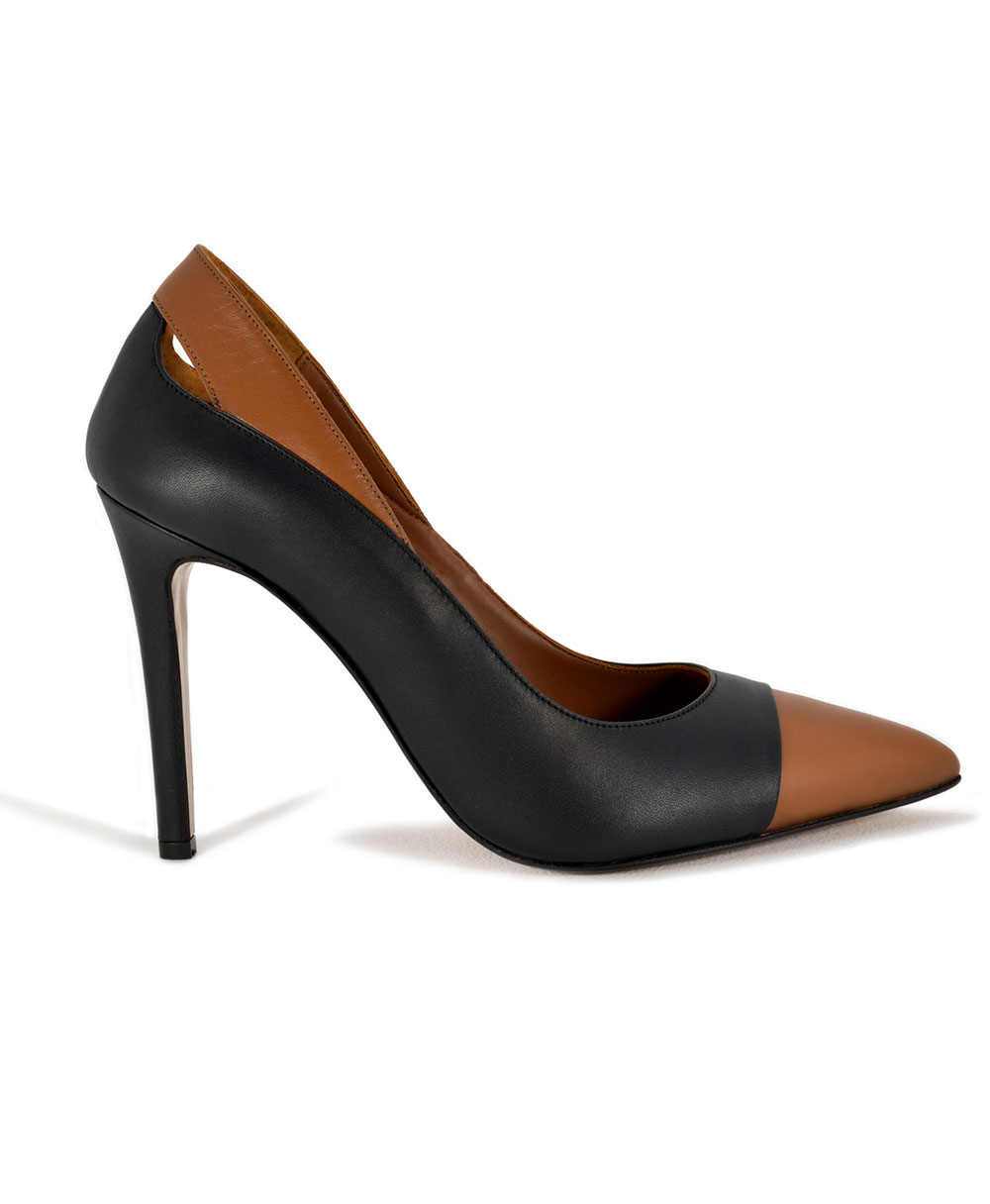 Black And Τaba Leather Pointed Pumps Mod.2563