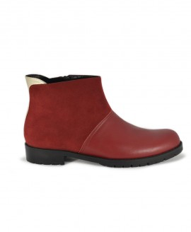 Ladies' Bordeaux-Gold Ankle Boots  Rounded Form Mod.2576