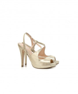 Bridal Mid High Sandals With Elastic Detail Metallic Gold Pattern Mod.2448