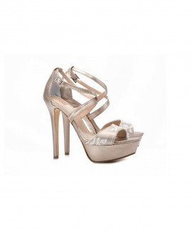 Bridal Crossed Strap Sandals Metallic Sand With Lace Details  Mod.2449