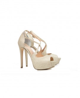 Bridal d'Orsay Ankle Crossed Strap Glitter Peep Toes Mod.2559