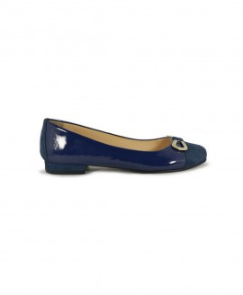 Ballerinas Blue Navy Suede With Patented Leather Mod.2578