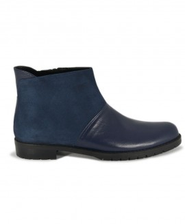 Ladies' Blue Suede-Leather Ankle Boots  Rounded Form Mod.2576