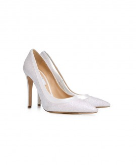 Bridal Pointed Pumps High Heels With Glitter Fine And White Pearl Leather Mod.1016