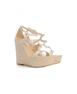 Bridal Wedges Sandals With Lace And Creme Satin And Swarovski Crystals Mod.2375w