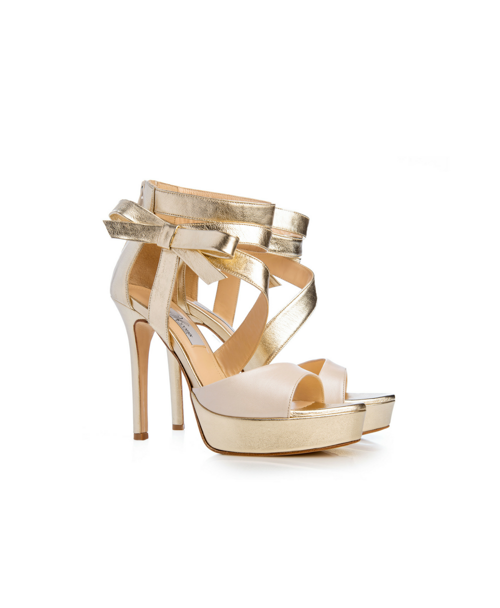 Bridal Ankle Zip High Heel Sandals With Gold And Ivory Leather Mod.2566