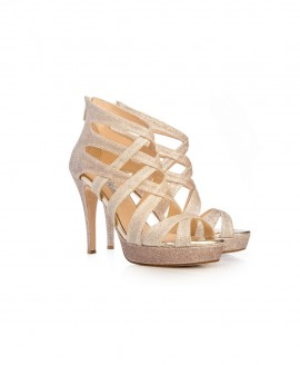 Bridal Ankle Zip High Heel Sandals With Glitter Fine Mod.2590