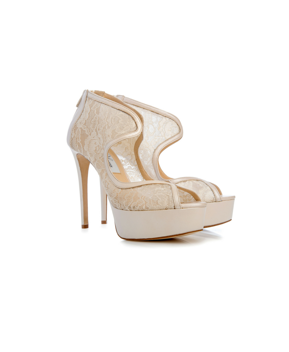 Bridal Ankle Zip Booties With Florale Tulle And Pearl Ivory Leather Mod.9544